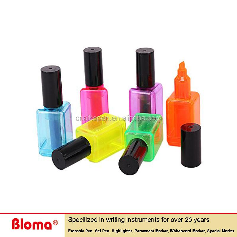 Novelty Design Nail Polish Bottle Shape Highlighter Marker For ...