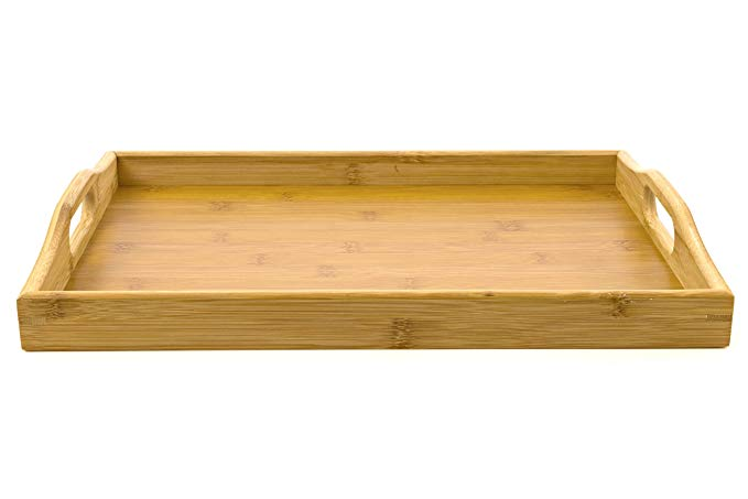 Bamboo melamine serving tray with handles 3