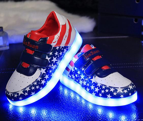 Hot Selling New 2016 Fashion Children Sneakers gold Black Kids Light Shoes Boy Girl luminous Led Shoes
