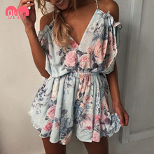 Summer Sexy Casual Floral Ruffle Backless Strap Beach Romper Shorts Jumpsuits