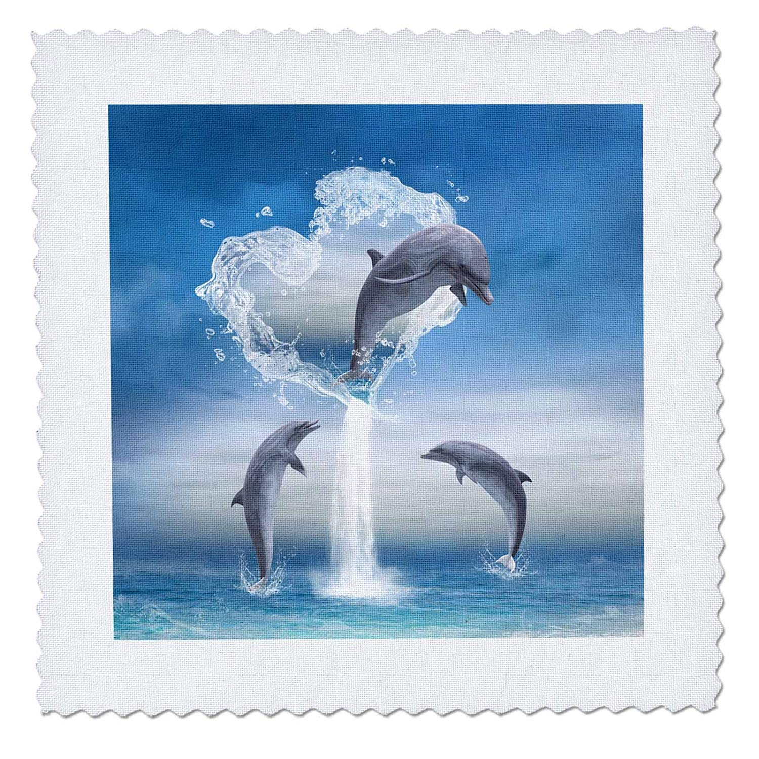 3dRose A Dolphin Jumps Out of A Water Heart Into The Ocean - Quilt Square, 6 by 6-Inch (qs_172929_2)