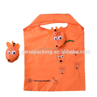 cheap promotional folding polyester shopping bag with a dog shape pocket