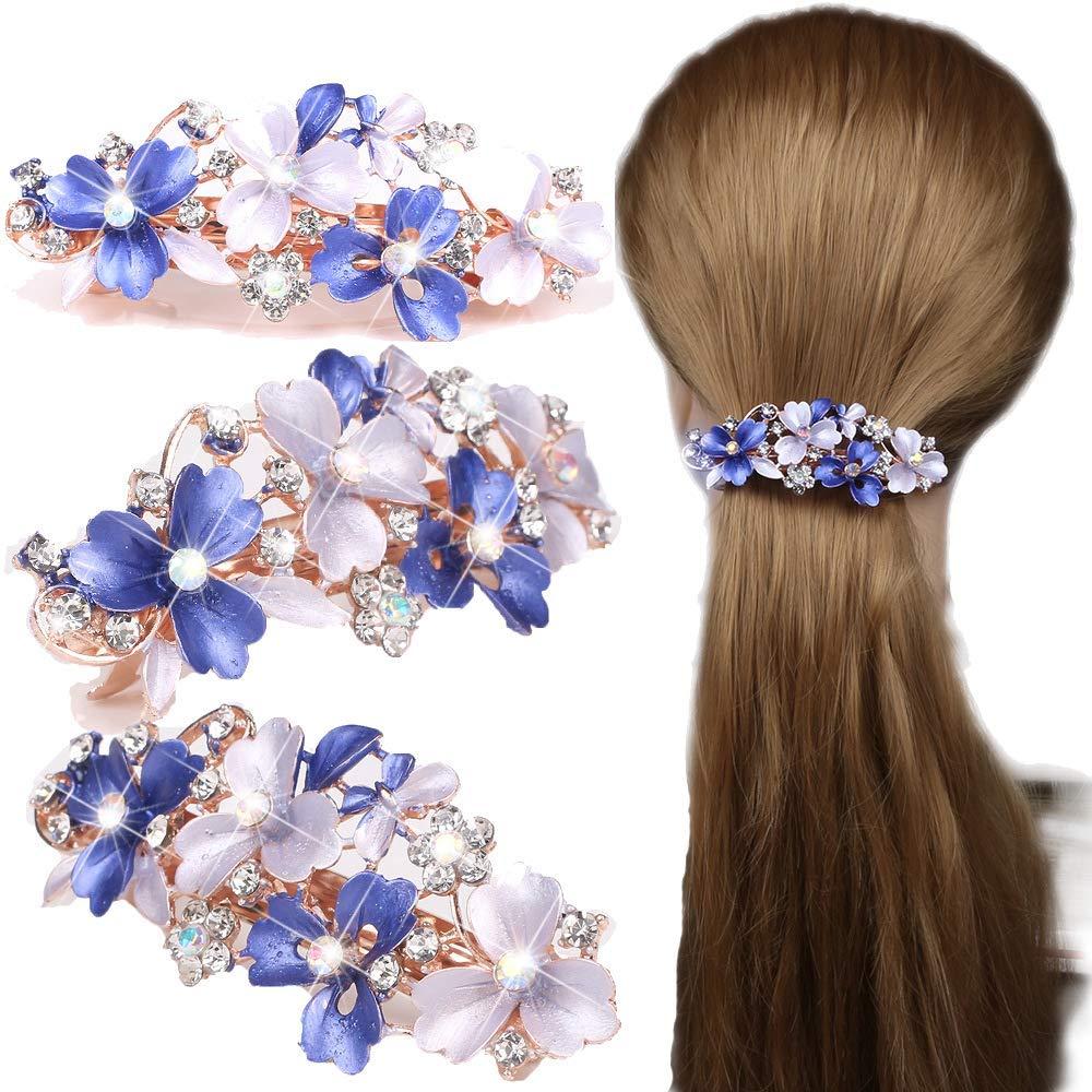 Wcysin Rhinestone Crystal beaded Flower Design Alloy Hair Barrettes Clips (Purple)