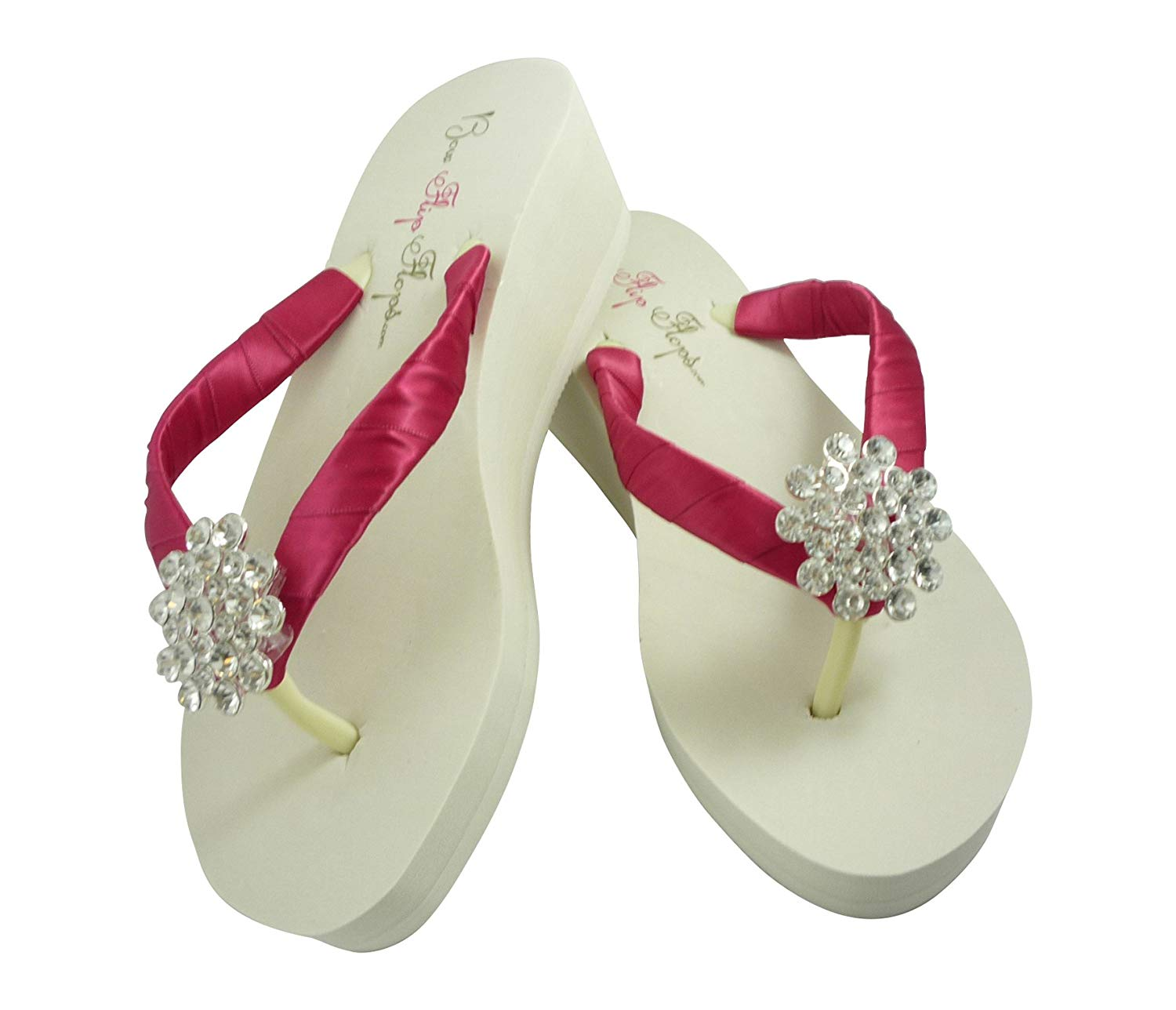 00d22de77 Get Quotations · Wedge 2 inch Flip Flops - Ivory or White Fuchsia Jewel  Embellishment