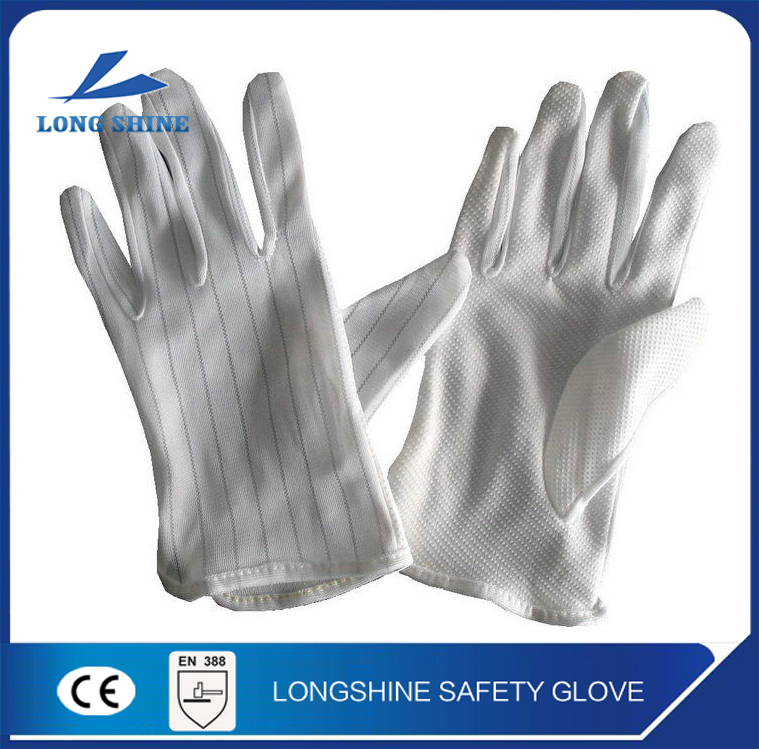 high quality hand protection polyester white pvc dotted esd safety gloves