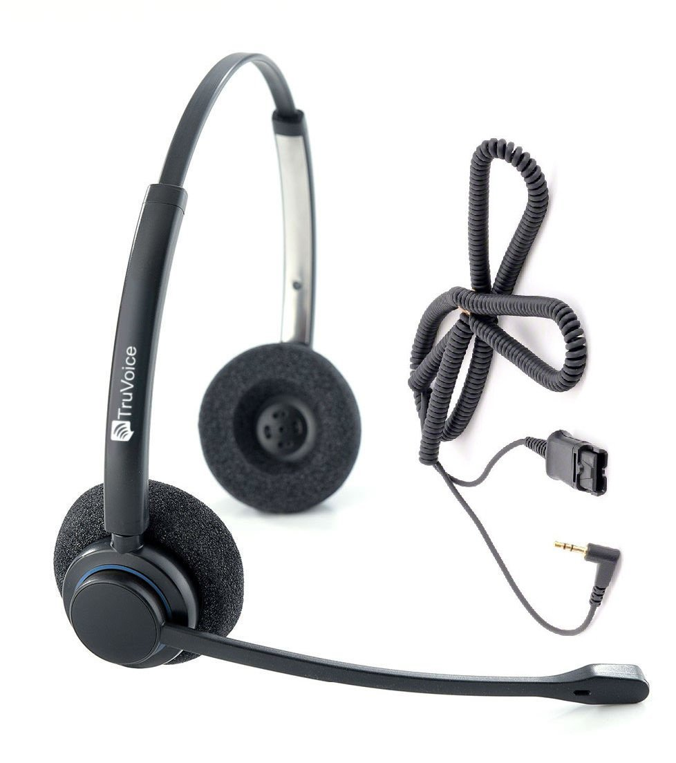 Professional Double Ear Noise Canceling Call Center / Office Headset with 2.5mm adapter for Polycom IP 320, IP330, IP321, IP331 and Cisco SPA: 303, 501G, 502G, 504G, 508G, 509G, 525G 512G, 514G,525G2