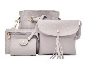 8848 Korean style lady leather bucket shoulder bag with tassel fashionable 4pcs woman bag set