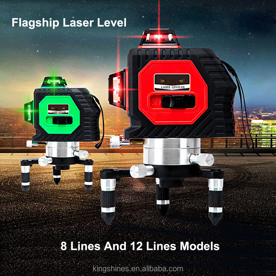3D 12 2D 8 Lines Green Red Lines Flageship Upgrade Decoration 360 Rotary Wall Multi Line Automatic Self-Leveling Laser Level