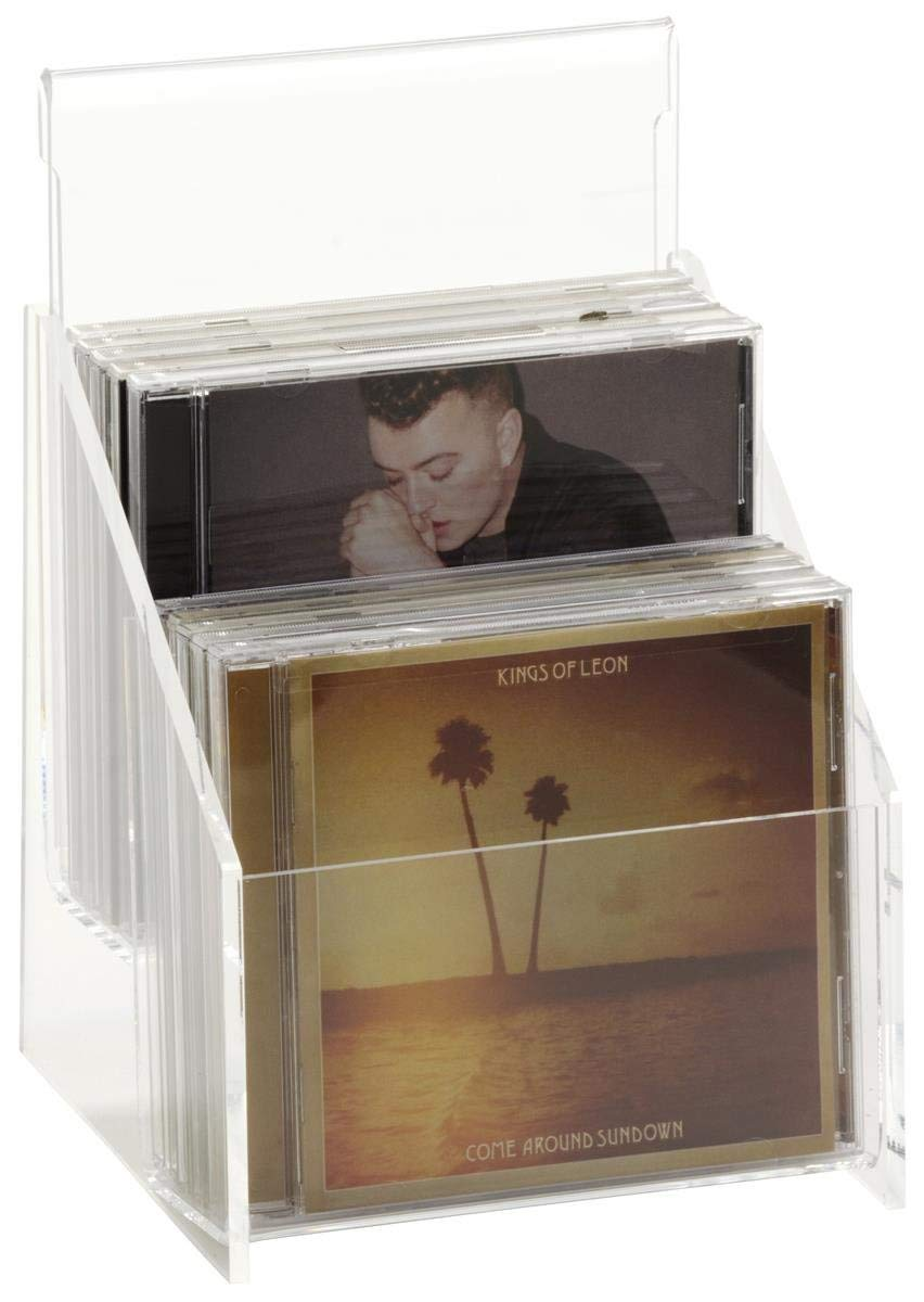 Set of 4, Clear Acrylic CD Racks for Tabletop, 2-Tier CD Holders with Separate Area for Sign, Hold up to 10 Compact Disc