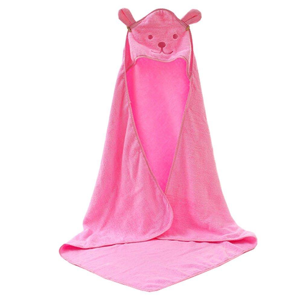 Blancho Bedding Baby Soft Cotton Breathable Bath Towel Kids Bathcloth Cloak Bathrobe 0-7 Years(Pink)