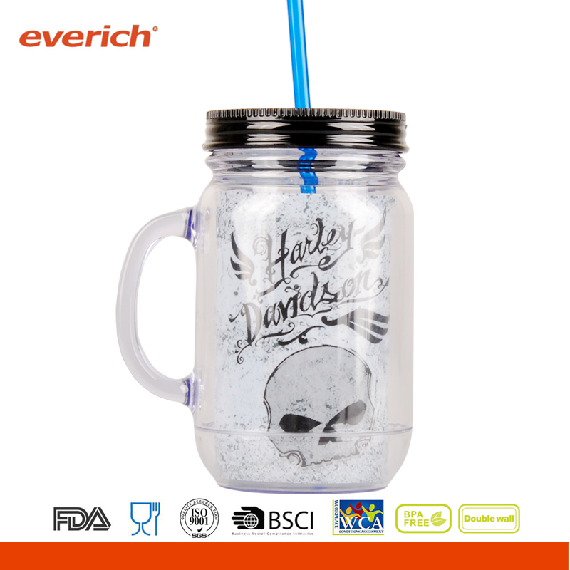 Wholesale 16oz glass mason jar with straw lid and handle