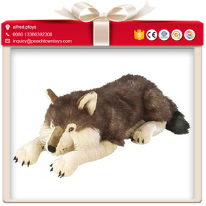 Lying sitting position soft black wolf plush