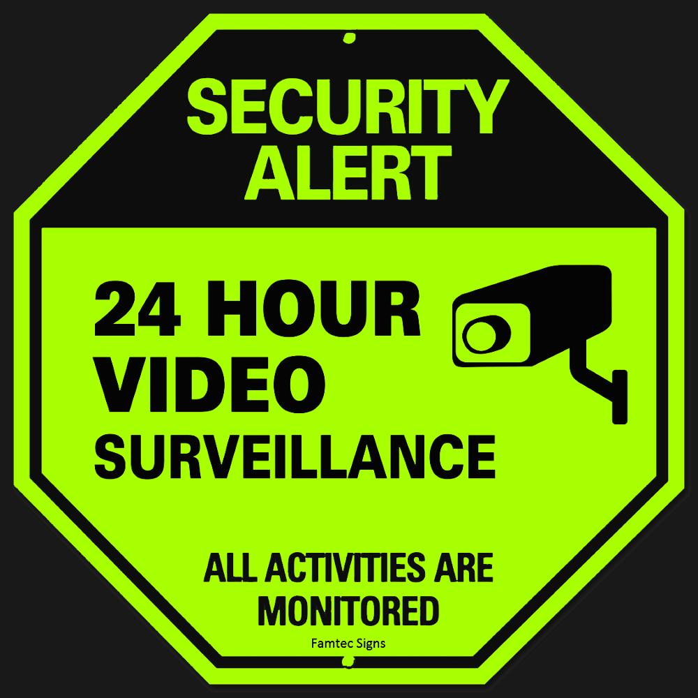 photo relating to Video Surveillance Signs Printable known as CCTV Plastic Personalized Reflective Octagon Surveillance Stability Caution Signal