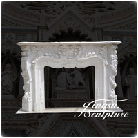 Hand Carved Home Decoration Cultured White Marble Fireplace Surround Price
