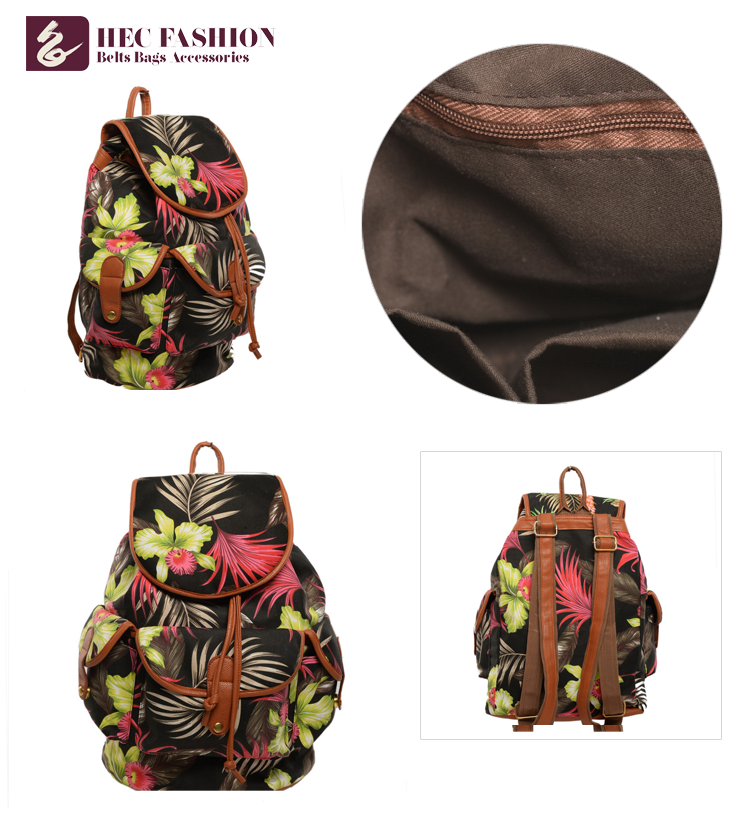 HEC Hot New Products Korean Style High School Fashion Canvas Backpack For Girls