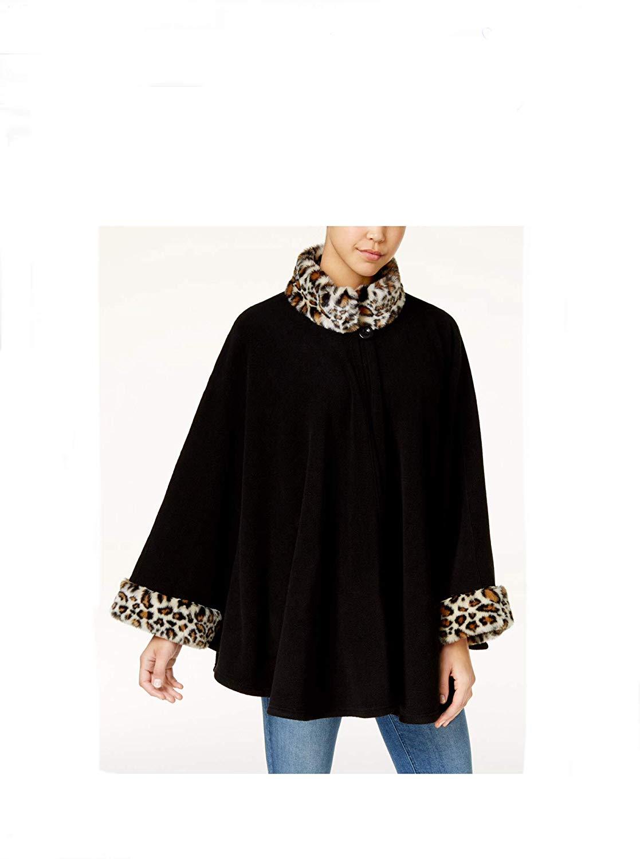 Cejon Leopard Print Faux Fur & Fleece Cape (L/XL, Black Leopard)