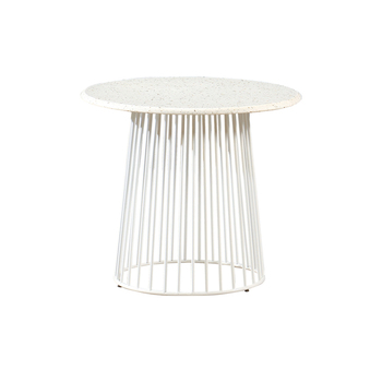 Modern luxury round white marble top coffee table with metal leg