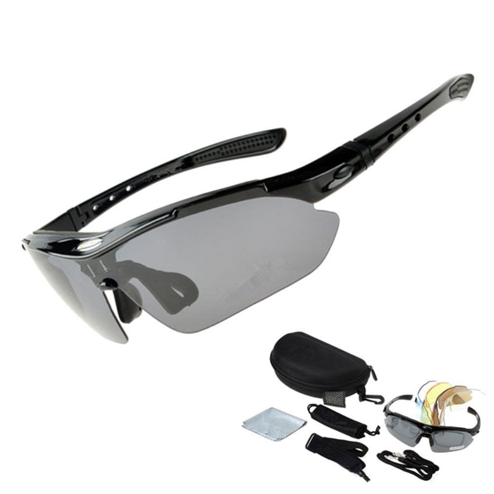 Outdoor RockBros TR90 Polarized Cycling Glasses 5 Lens Interchangeable UV400 Sunglasses