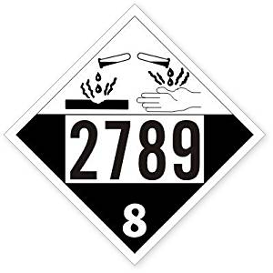"""UN2789 Class 8 Acetic Acid, Heavy-Weight Coated Tagboard, 25 Placards / Pack, 10.75"""" x 10.75"""""""