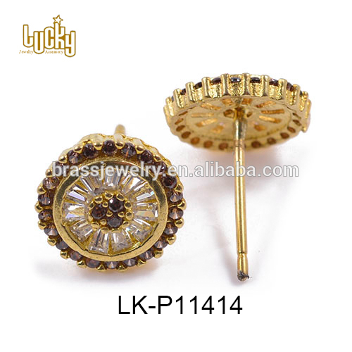 Wholesale costume jewelry cubic zirconia copper alloy vintage color Bali style stud earrings with good quality