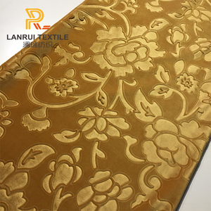 Popular fresh yellow 3d embossed Holland velvet sofa material fabric