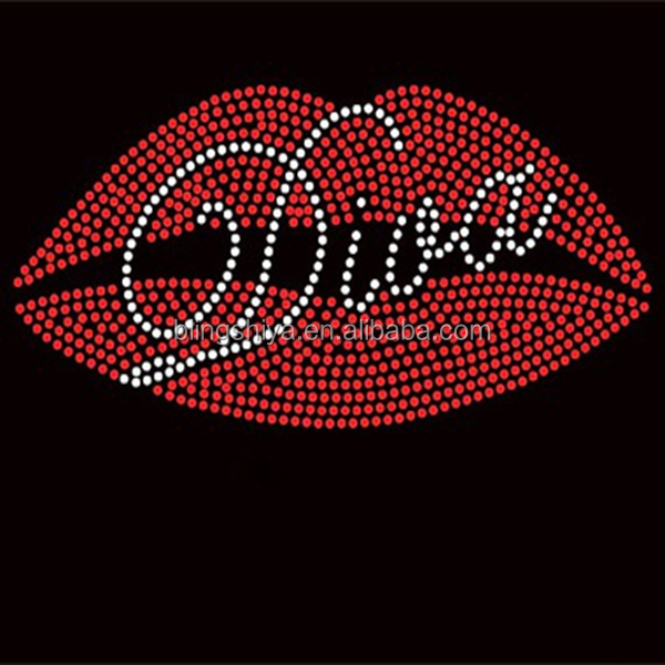 Wholesale Bling t-shirt transfers Diva Red Lips Rhinestone design
