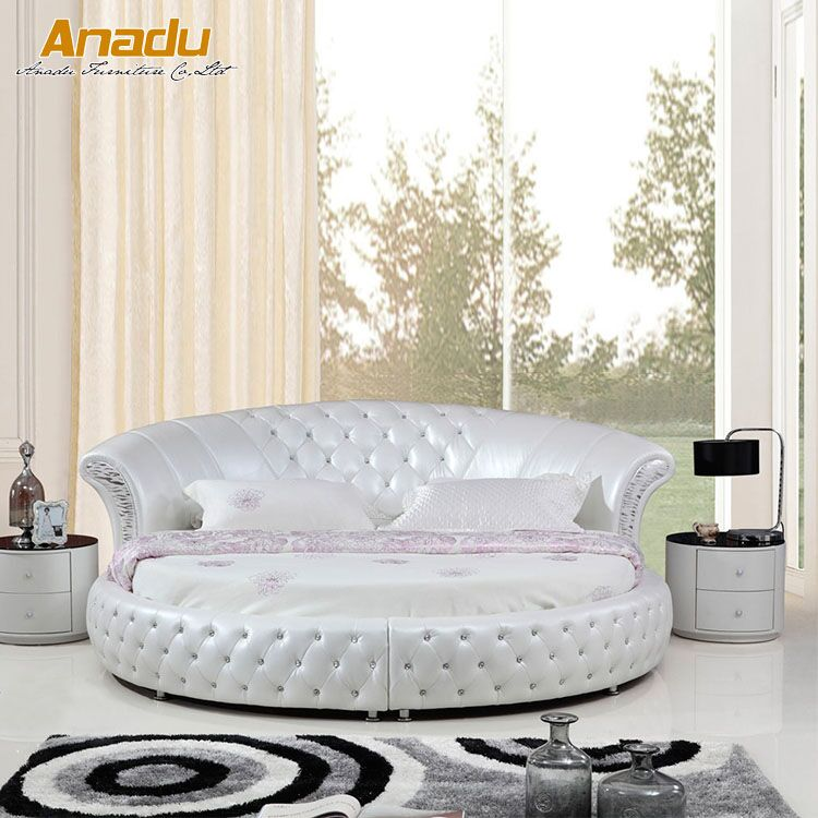 Super King Size Modern Round Leather Soft Bed By8219 Buy King