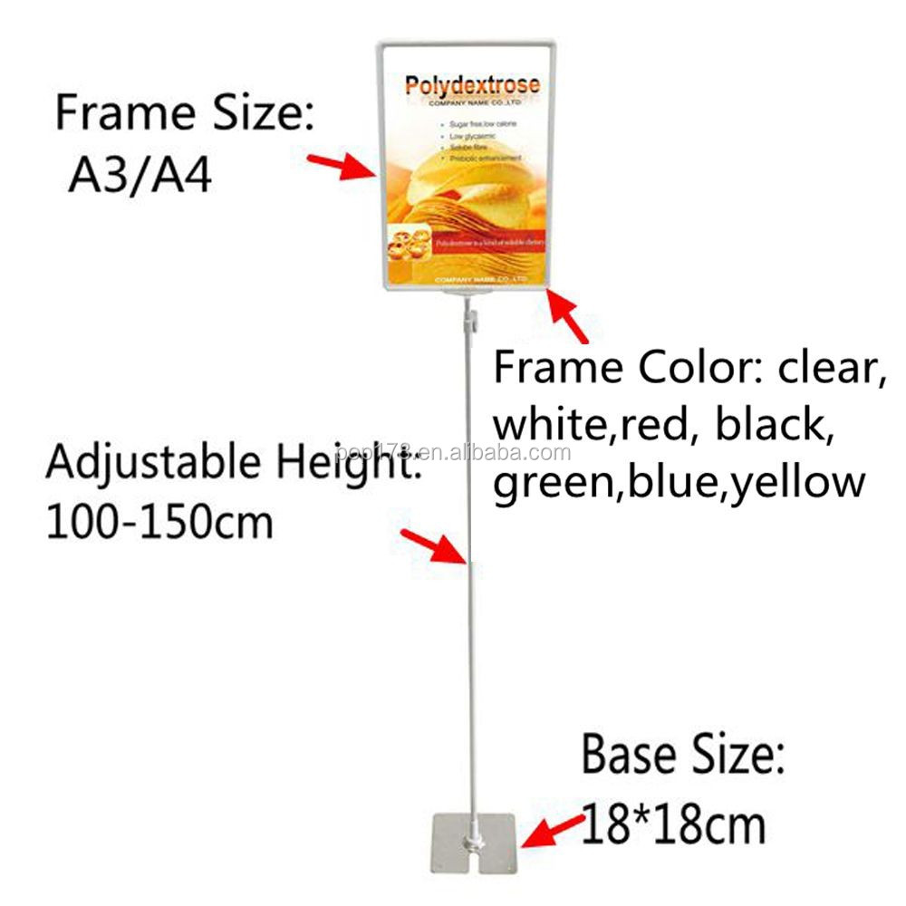 Supermarket Retail Floor Display Stand With A3 Poster Frame - Buy ...