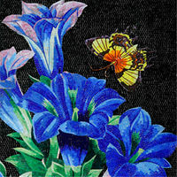VH Butterfly and Blue Flower Wall Murals Glass Mosaic Kitchen Tiles Backsplash