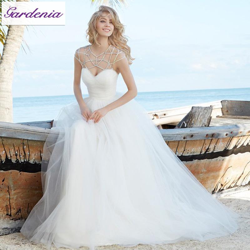 Unique Wedding Dresses: Unique Neckline Design 2015 New Wedding Dress A Line