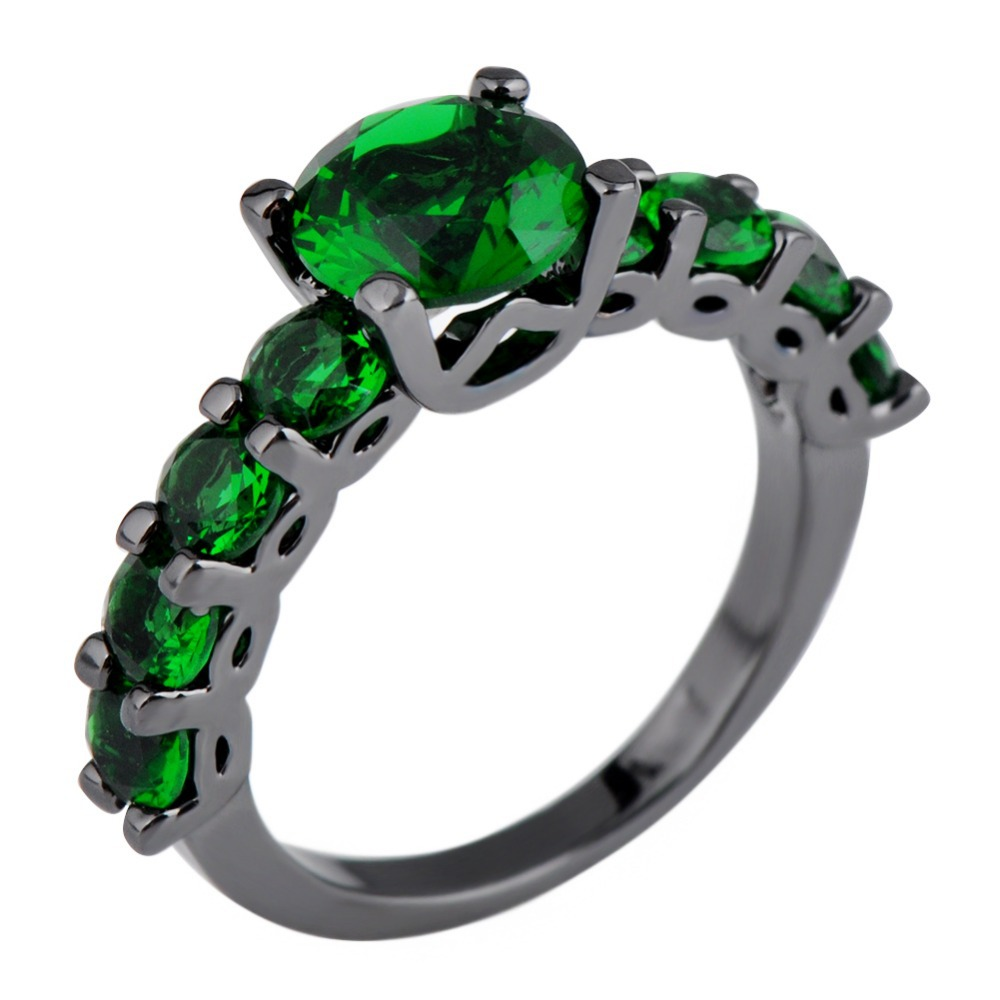Round Emerald Green Female Ring Black Gold Filled Jewelry Vintage New Fashion Party Wedding Rings For Women Bague Femme RB0328
