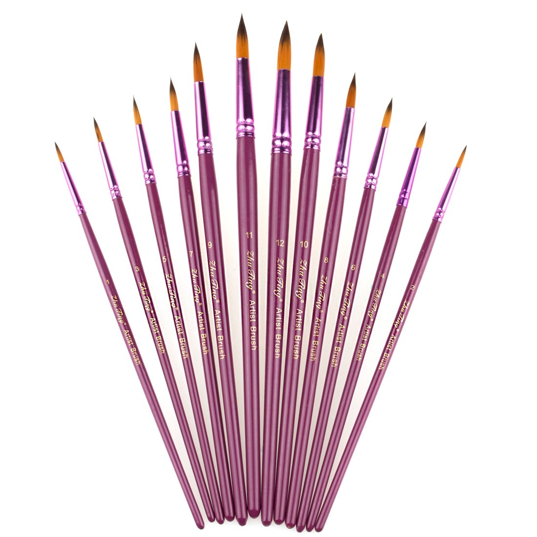 StarVast Painting Brushes, 12pcs Professional Round Pointed Paint Brush Set for Watercolor, Oil, Acrylic, Crafts, Rock, Face Painting and Gouache - Purple