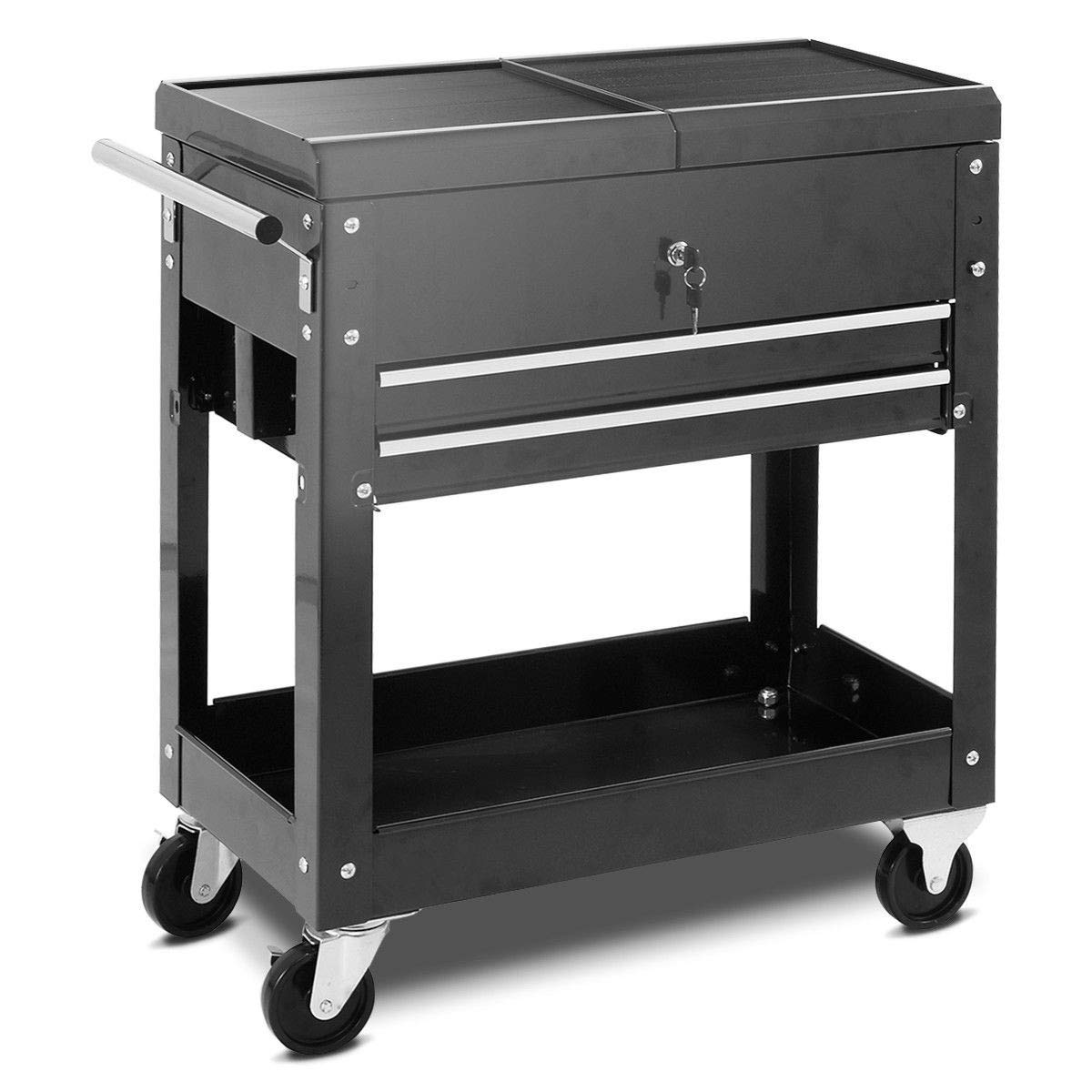 MRT SUPPLY Rolling Mechanics Tool Cart Slide Top Utility Storage Cabinet Organizer 2 Drawer with Ebook