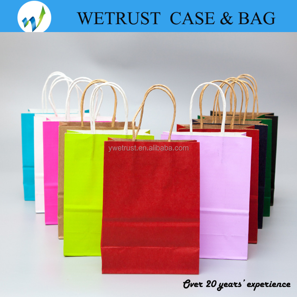 Bright Color Paper Bags ,Assorted Colors kraft paper bag