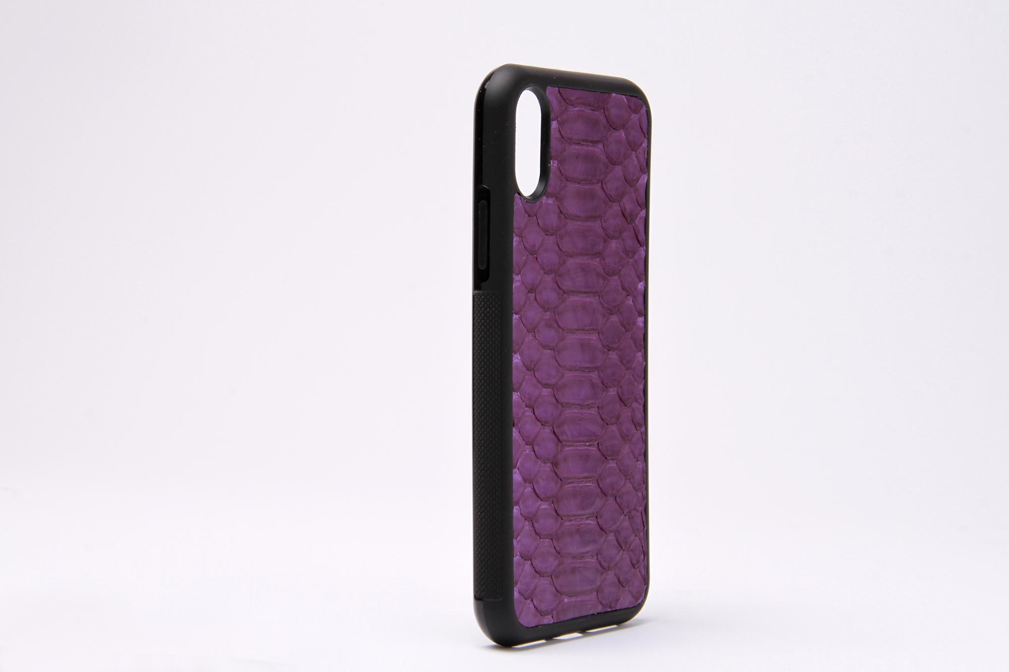 Purple Real Python Leather Phone Case