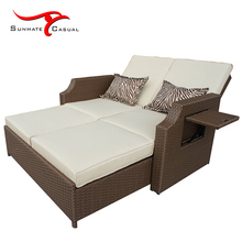 Multi-purpose Extension 2 in 1 Folding Convertible Pull Out Outdoor Rattan Wicker Sofa Bed