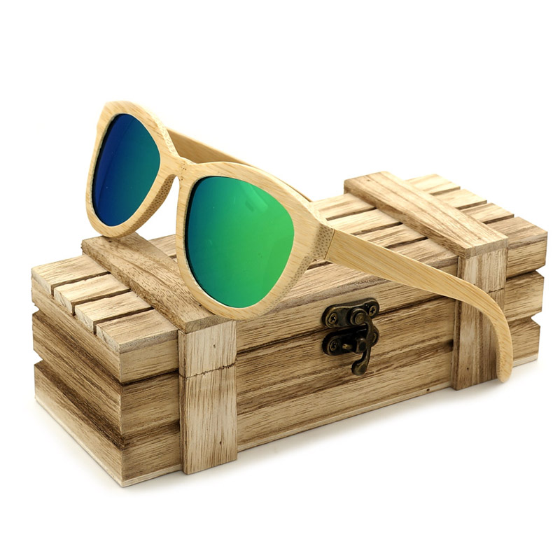 BOBO BIRD BG013 Unisex New Arrival Vintage Bamboo Cat eye Sunglasses Best Gift Goggles Sun Glasses Male With Cool Wooden Box