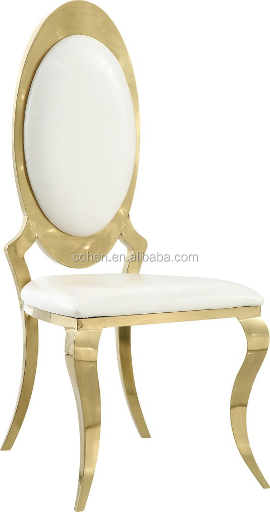 gold color leather dining chair round back stainless steel home design