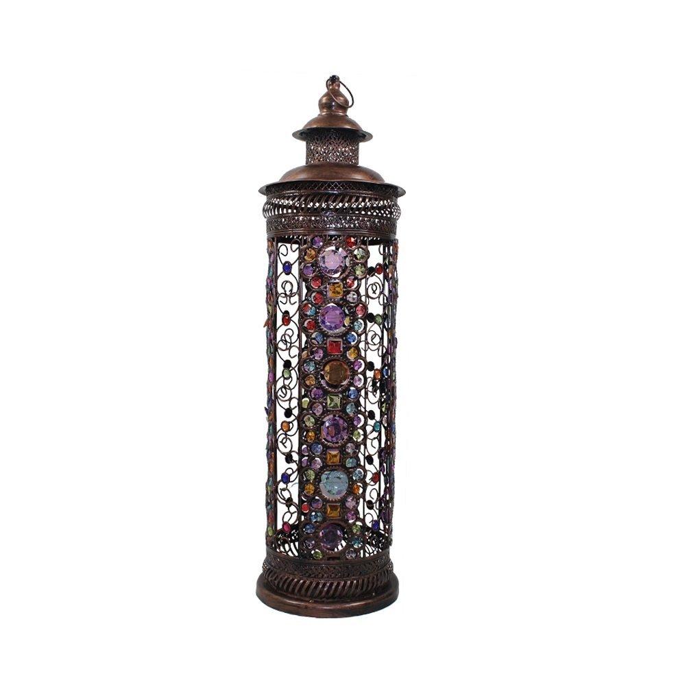WAN SAN QIAN- Large Iron Moroccan Floor Lamp Stylish Cutwork Jeweled Floor Light with Colourful Organic Glass Beads E141,86x24cm Floor Lamp