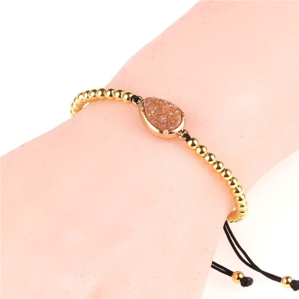 Fashion Fittings Women Jewelry 4mm Copper Gold Plated Metal Beads Bracelet