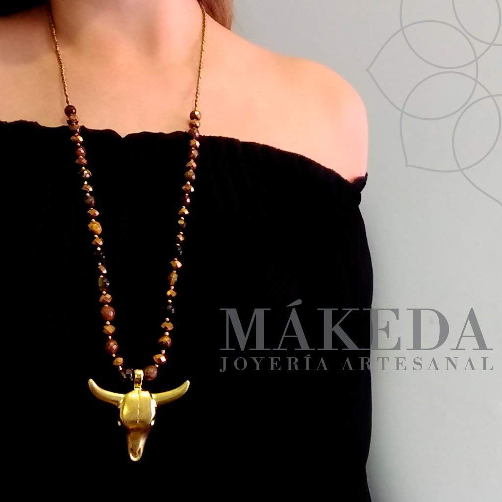 Pendant and Earrings | Gold plate | Gold plated bull and natural stone Tiger Eye