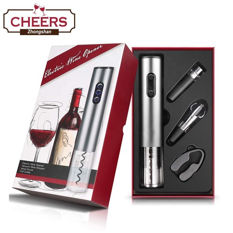 מפעל חשמלי אוטומטי בקבוק יין פותחן מחלץ מתנות סט עם אלומיניום רדיד חותך, יין Aerator Pourer ופקק יין