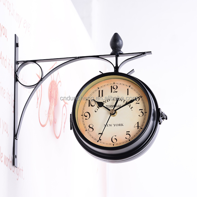 Vintage European Wholesale Metal Iron Clock , Double Sided Wall Hanging Clocks