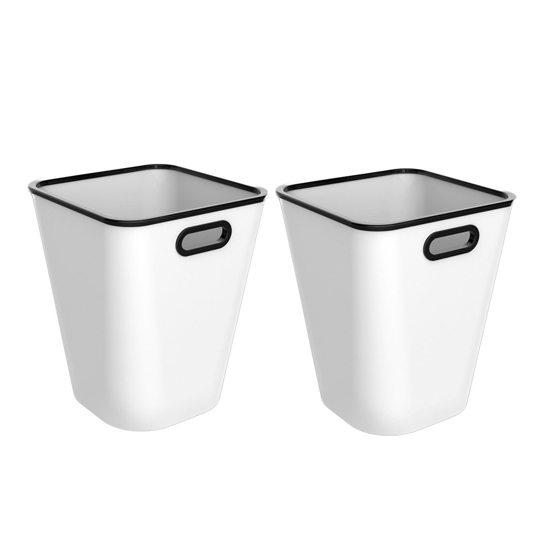 XSHION Trash Can Set of 2, Plastic Waste Paper Basket for Office/Recycle Bins for Home Wastebasket 4 Gallon (White)