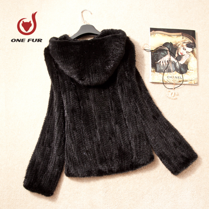 Women Clothes hooded knitted mink fur coat fight real natural mink outerwear plus size lady fashion elegant coat ouvercoat