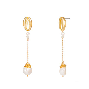 Fashion gold shell jewelry irregular pearl earrings