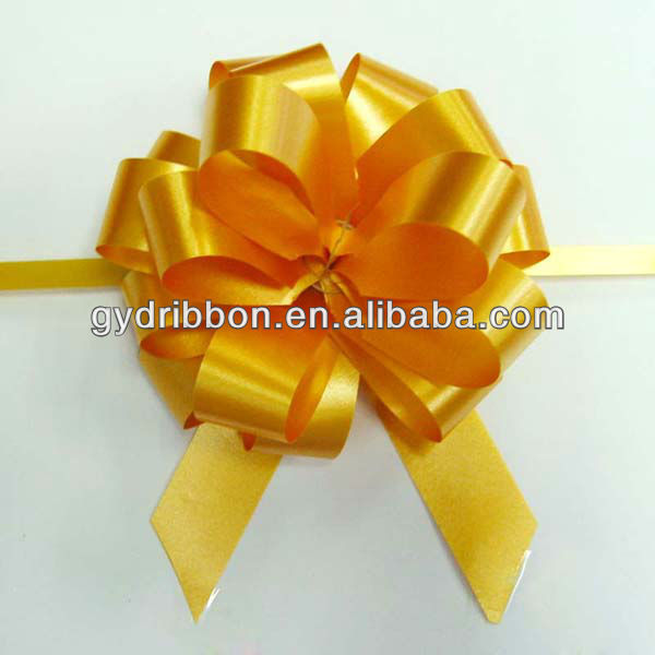 butterfly pull ribbon bow with lace edge for wedding decorations/wedding ribbon flower decoration