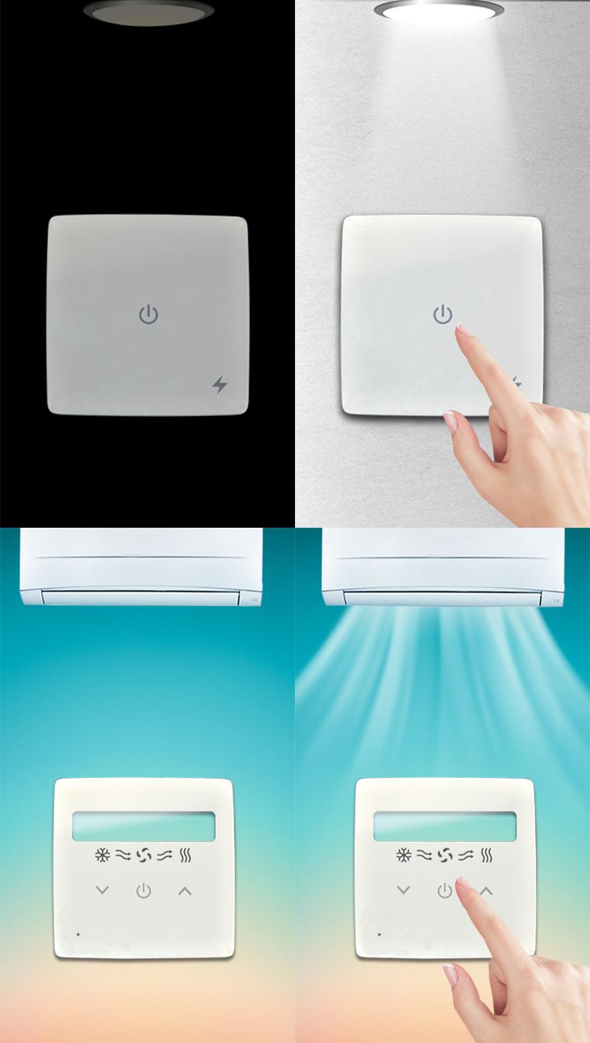 Painel acrílico de cristal personalizado do interruptor dianteiro do toque