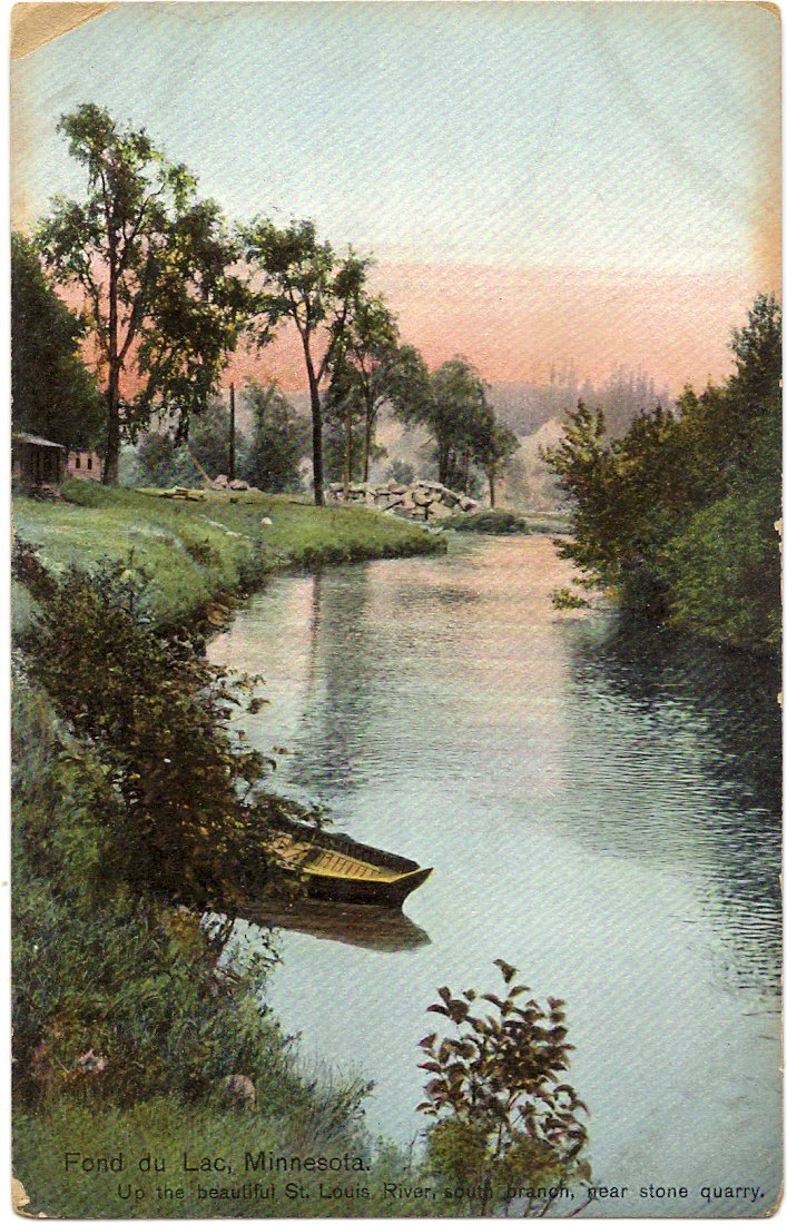 1910 Vintage Postcard - South Branch of St. Louis River near the Stone Quarry - Fond du Lac Minnesota