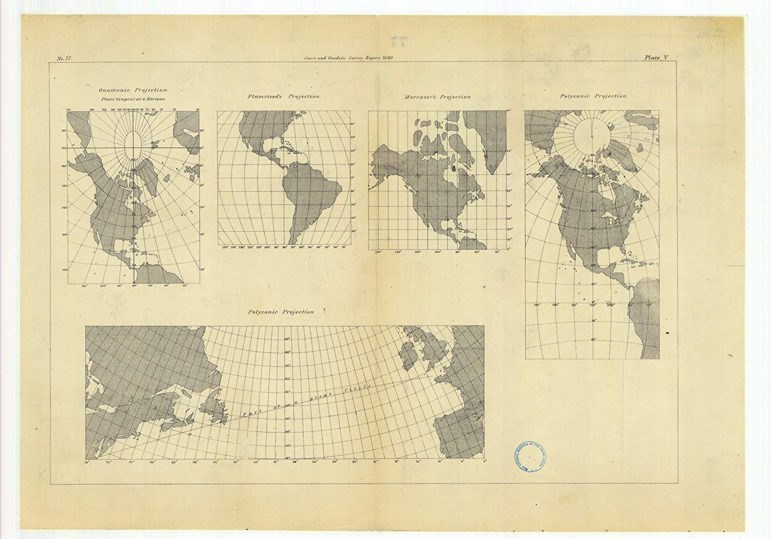 Vintography 8 x 12 inch 1880 Ohio Old Nautical map Drawing Chart Gnomonic Projection Flamsteed's Projection, Mercator's Projection Polyconic Projections from US Coast & Geodetic Survey x6810